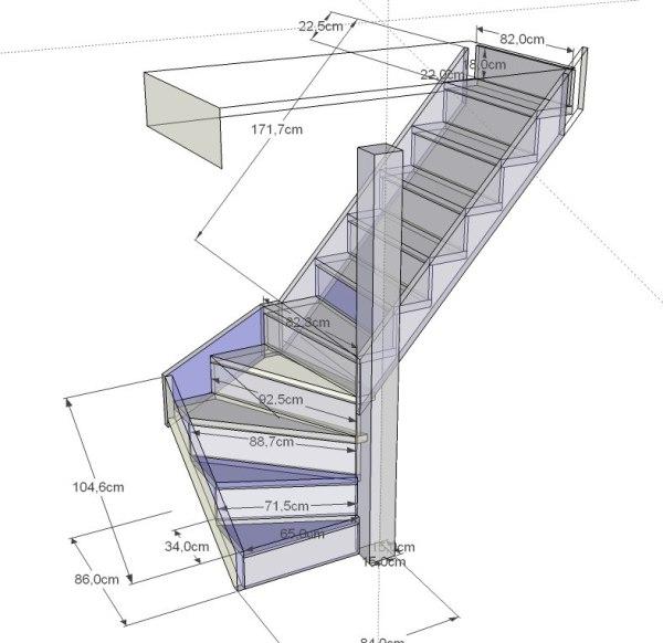 Лестницы на второй этаж в частном доме своими руками чертежи